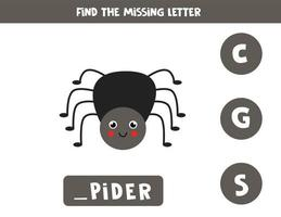 Find missing letter with cute spider. Spelling worksheet. vector