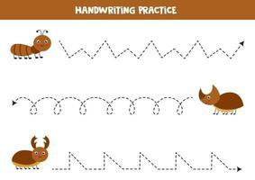traza las líneas con lindos insectos. Practica de la escritura. vector