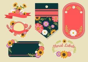Floral label set vector