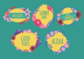 Summer frame set with lettering vector