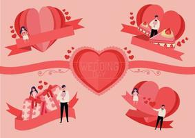 heart label set for wedding card or valentine's day vector