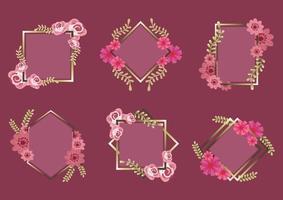 Floral frame set vector