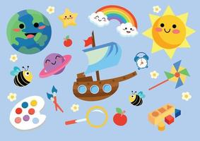 kids game and toy set vector