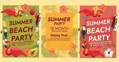 Plantilla de póster de fiesta tropical isla tropical vector