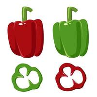 Red and green bell peppers vector