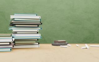 Mesa de la escuela llena de libros con goma de borrar y tiza, render 3d foto