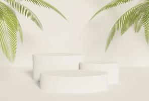 3D product podium with three white cylinders photo