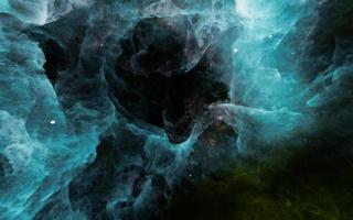 3d blue and green nebula abstract background photo
