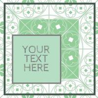 Floral Medieval Pattern Background Template Mint Green Quarter vector
