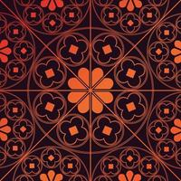 tudor rose repetición patrón de fondo naranja quemado vector