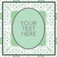Floral Medieval Pattern Background Template Mint Green Oval vector
