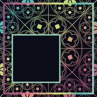 Floral Medieval Pattern Background Template Quarter Dark Rainbow vector