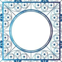 Floral Medieval Pattern Background Template Circle Metallic Blue vector