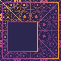 Floral Medieval Pattern Background Template Quarter Glowing Purple vector
