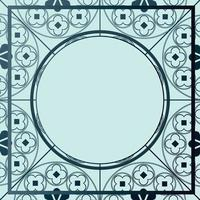 Floral Medieval Pattern Background Template Circle Blue Hues vector