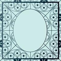 Floral Medieval Pattern Background Template Oval Blue Hues vector
