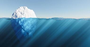 3D iceberg floating in the sea with crystal clear water photo