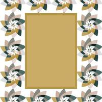 Graphic Flower Rectangular Template with Copy Space Gold Grey vector