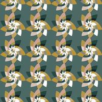 Graphic Flower Repeating Pattern Background Teal Green vector
