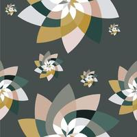 Graphic Flower Scatter Pattern Background Green Gold vector