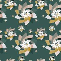 Graphic Floral Scatter Pattern Background Green Gold vector