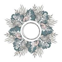Circle Frame of tropical leaves. Exotic wreath of fronds in delicate colours. One line stile art vector illustration. Template for postcards, invitations, decor.