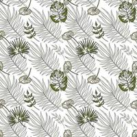 Jungle vector seamless pattern. Tropical leaves in shades of green. One line style art. Trendy summer print. Exotic seamless ornament for background, wrapping paper, fabric, textile, wallpaper.
