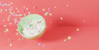 Cuenco de cerámica verde 3d con leche y cereales cayendo foto