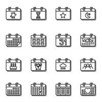 Calendar and date icons set on white background vector image.