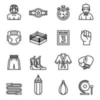 Boxing and fighting icons set vector image.