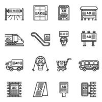 Outdoor advertising commercial and marketing icon set vector