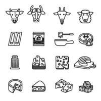 conjunto de iconos de queso conjunto de iconos de imagen vectorial. vector
