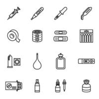 Medicine and drugs icon set vector image.