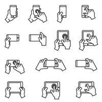 manos sosteniendo la imagen vectorial de conjunto de iconos de teléfono inteligente y tableta. vector