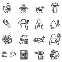 Dengue fever and symptoms with prevention icon set vector image.