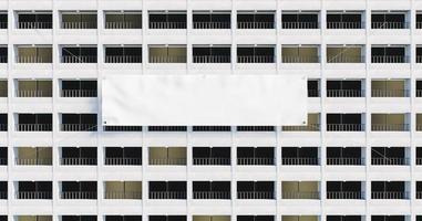Fachada 3d de un edificio con una pancarta gigante en blanco foto