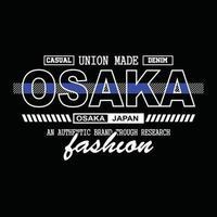 diseño de camiseta de tipografía de mezclilla de japón osaka vector