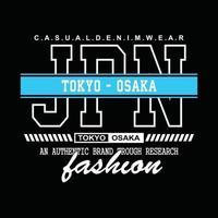 diseño de camiseta de tipografía de mezclilla de japón tokio-osaka vector