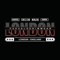diseño de camiseta de tipografía de mezclilla de londres vector