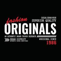 diseño de tipografía de ropa urbana original. vector