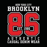 diseño de tipografía de ropa urbana original de brooklyn vector