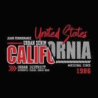diseño de camiseta de tipografía de mezclilla de california vector