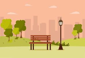 City Park wooden bench, lawn and trees, trash can. Walkway and Street light. Town and city park landscape nature.Vector illustration vector