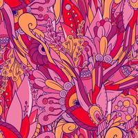 patrón floral transparente con hojas, flores y bayas. vector