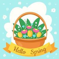 hola tarjeta de felicitación de primavera. canasta con flores de primavera. ilustración vectorial vector