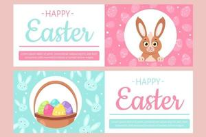 Happy Easter flyer. Bunny, basket with Easter eggs. Vector illustration