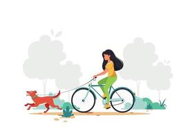 Woman riding bike with dog in park. Healthy lifestyle, outdoor activity concept. Vector illustration.Print