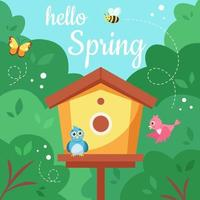 Hello spring. Birdhouse with birds, butterfly, bee. Spring nature. Vector illustration