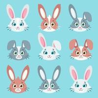 linda colección de conejitos. ilustración vectorial vector