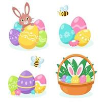 Easter elements bunny, basket with eggs, easter eggs. Vector illustration